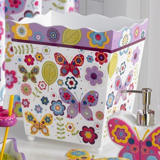 Kassatex Fine Linens Bambini Butterflies Waste Basket