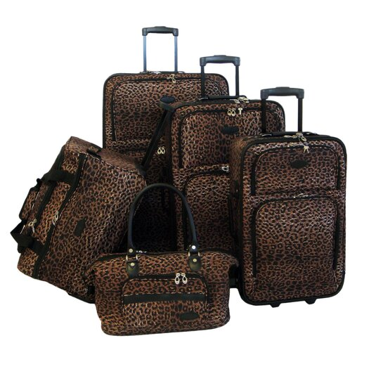 American Flyer Animal Print 5 Piece Luggage Set