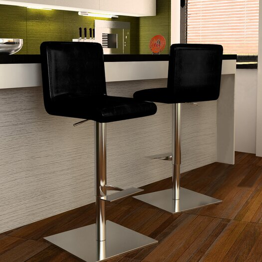 Bellini Modern Living Georgio Adjustable Height Swivel Bar Stool with Cushion