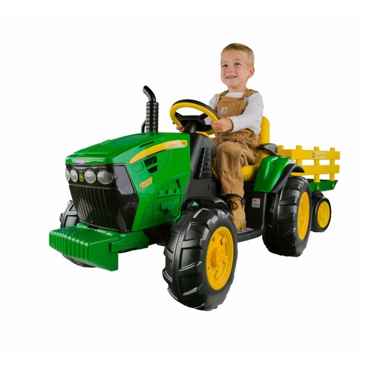 Peg Perego Ground Force 12V Battery Powered Tractor with Trailer