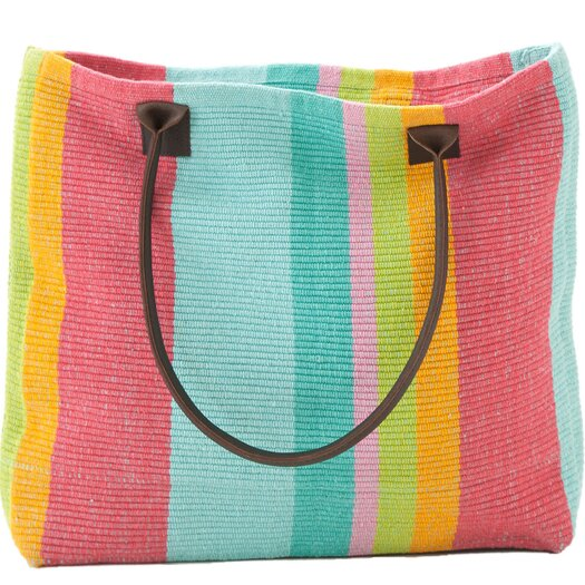Dash and Albert Rugs Tiki Stripe Woven Cotton Tote Bag
