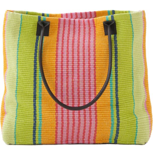 Dash and Albert Rugs Parasol Stripe Woven Cotton Tote Bag