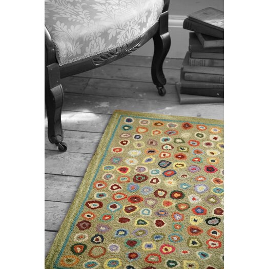 Dash and Albert Rugs Hooked Cats Paw Sage Micro Geometric Area Rug