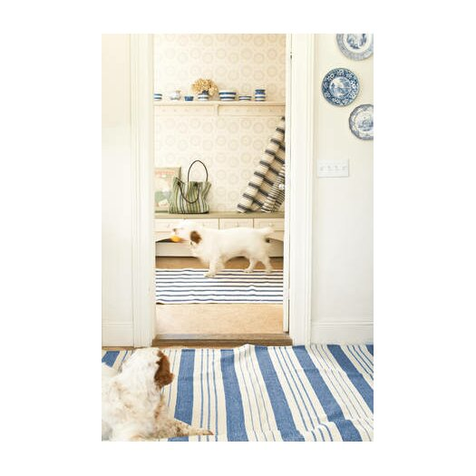 Dash and Albert Rugs Woven Awning Blue/White Stripe Area Rug