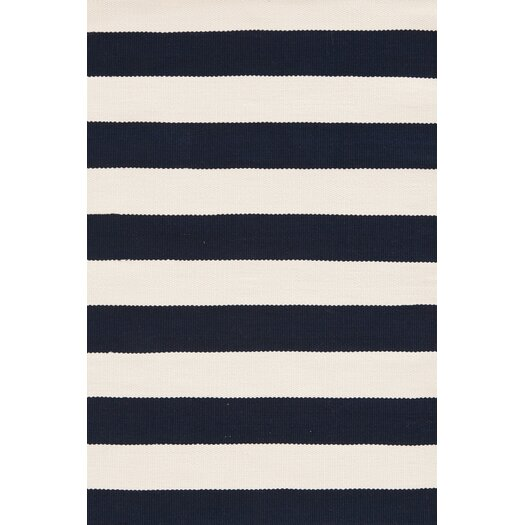 Dash and Albert Rugs Catamaran Ivory & Navy Blue Striped Indoor/Outdoor Area Rug