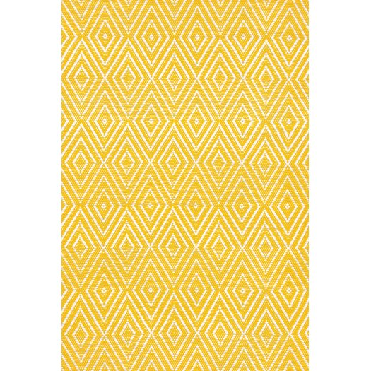Dash and Albert Rugs Indoor/Outdoor Diamond Canary/White Outdoor Area Rug