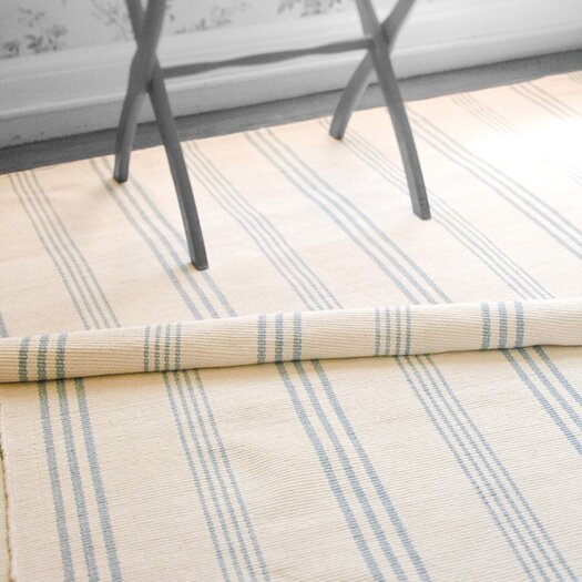 Dash and Albert Rugs Woven Swedish Blue & Ivory Stripe Area Rug