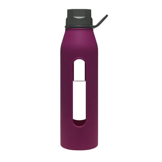 Takeya 22 Oz Classic Glass Water Bottle with Black Lid and Jacket in Purple