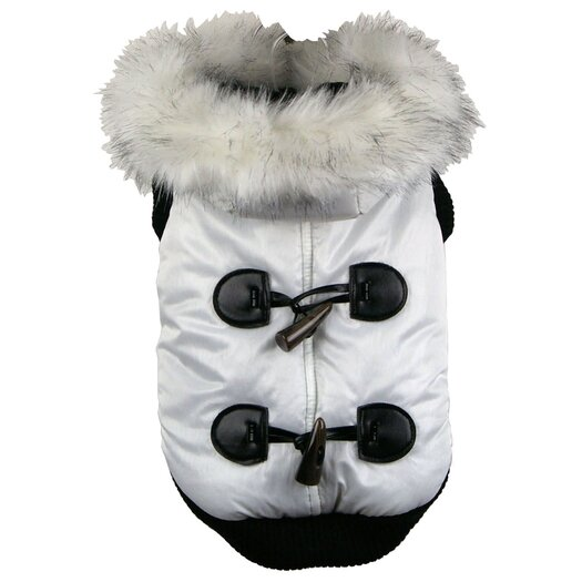 Pet Life Fashion Dog Parka with Hood in Winter White