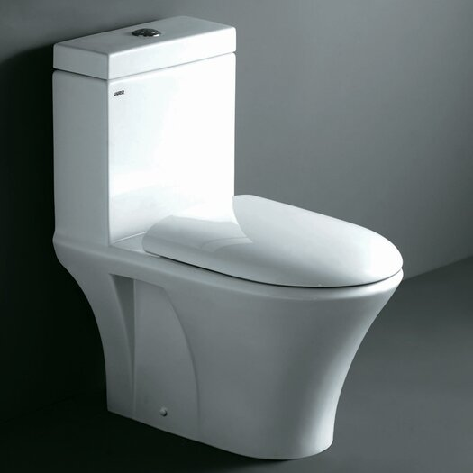 Ariel Bath Milano Contemporary Elongated 1 Piece Toilet with Dual Flush