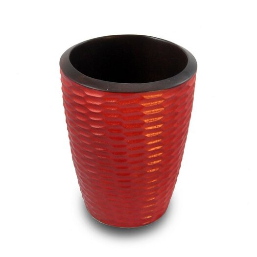 Enrico Casual Dining Utensil Vase in Brick Red and Dark Brown Lacquer