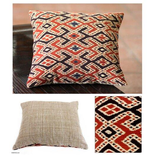 Novica The Threads of Life Handwoven Ikat Cushion