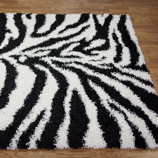 nuLOOM Shaggy Zebra Black/White Area Rug