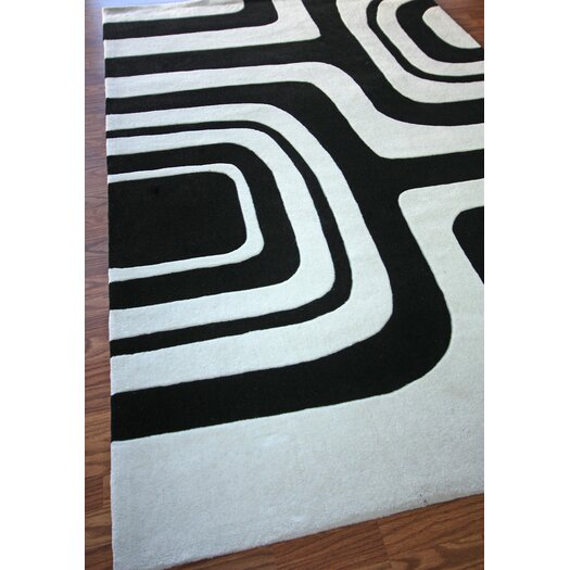 nuLOOM Cine Black / Grey Maze Marshmallow Area Rug