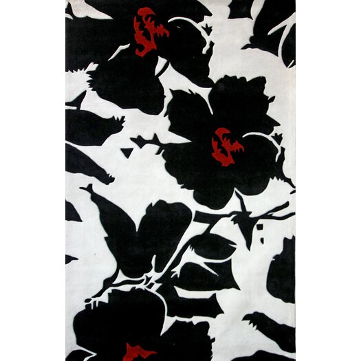 nuLOOM Cine Floral Symphony Black Rug