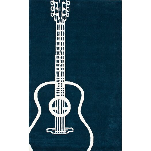 nuLOOM Cine Teal Guitar Novelty Outdoor Area Rug