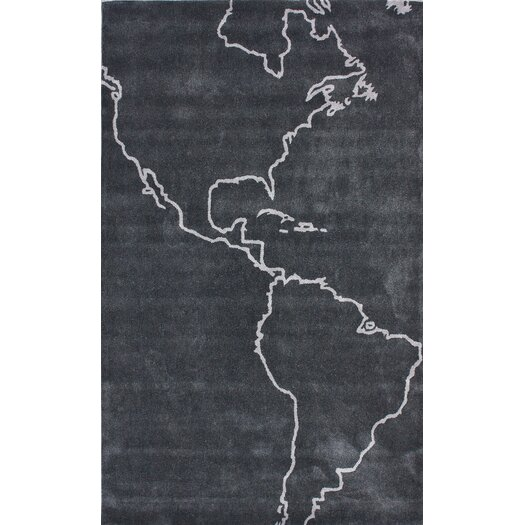nuLOOM Cine Grey Map Novelty Outdoor Area Rug