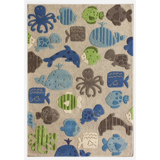 nuLOOM KinderLOOM Ocean World Gray Area Rug