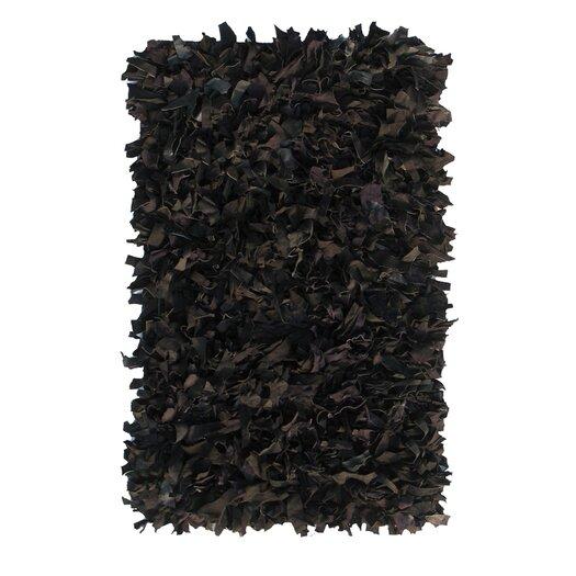 nuLOOM Leather Shag Black Rug