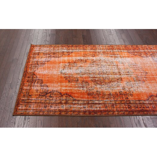 nuLOOM Remade Distressed Overdyed Obstinate Orange Area Rug