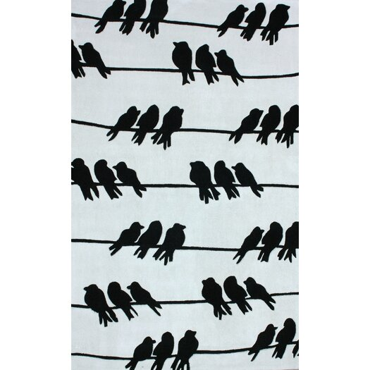 nuLOOM Cine Light Grey Birds On A Wire Novelty Outdoor Area Rug
