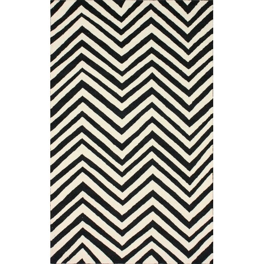 nuLOOM Homestead Ash Arron Black/Ivory Chevron Area Rug