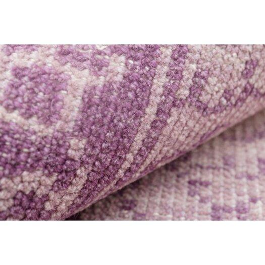 nuLOOM Ayers Purple Washed Damask Fringe Area Rug