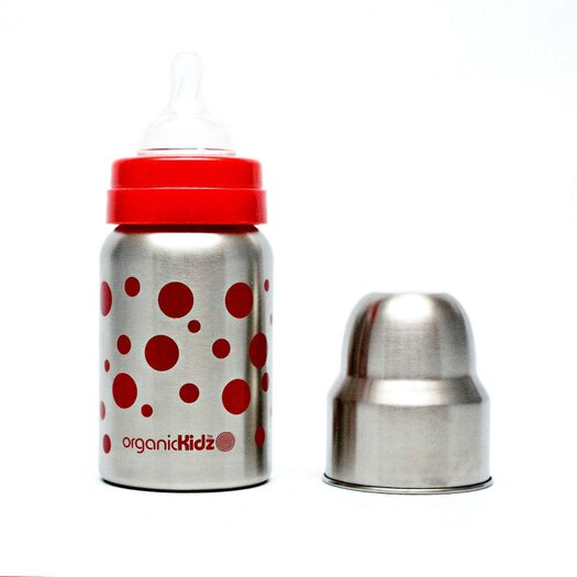 organicKidz Nine Ounce Wide Mouth Stainless Steel Baby Bottle in Red Dots