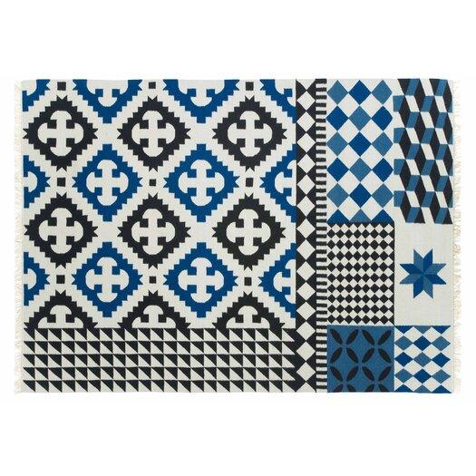 Gandia Blasco Kilim Palermo Blue Ikat Area Rug