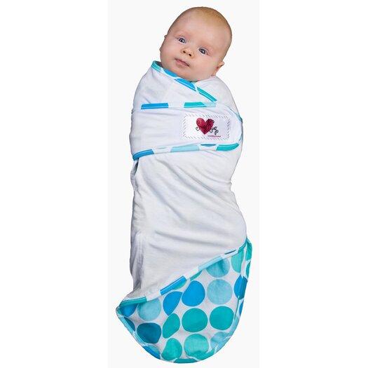 Go Mama Go Snug and Tug Swaddle Blanket, Caribbean Blue - Small