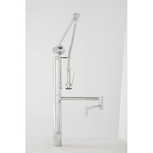 "Waterstone Hunley Gantry 12"" One Handle Single Hole Pot Filler Faucet with Pre-Rinse Spray"