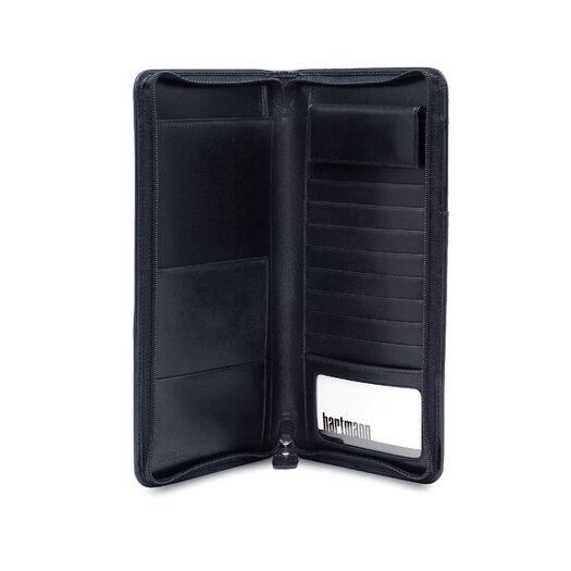Hartmann Capital Leather Zip Travel Organizer in Black