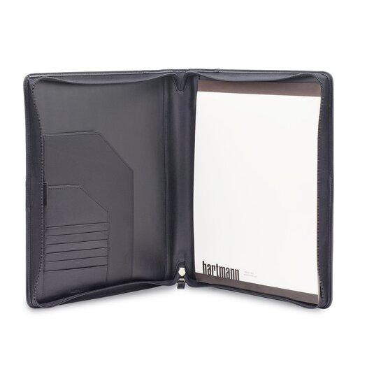 Hartmann Capital Leather Zip Executive Writing Folio in Black