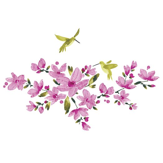 Room Mates 35 Piece Deco Flowering Vine Peel and Stick Wall Decal Set