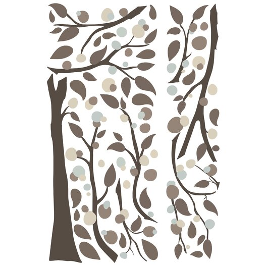 Room Mates 47 Piece Deco Mod Tree Peel and Stick Giant Wall Decal Set