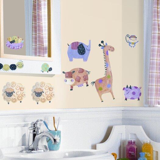 Room Mates Studio Designs 33 Piece Polka Dot Piggy Wall Decal Set