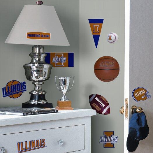 Room Mates Collegiate Sports 24 Piece Appliqué University of Illinois Wall Decal Set