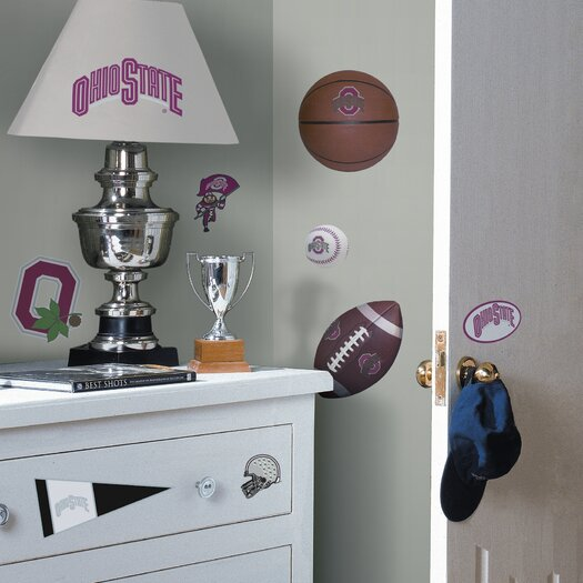 Room Mates Collegiate Sports 22 Piece Appliqué Ohio State Buckeyes Wall Decal Set