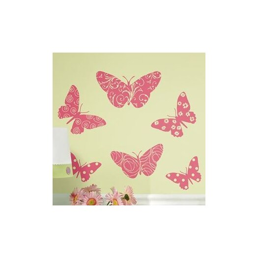 Room Mates Room Mates 10 Piece Deco Flocked Pink Butterfly Wall Decal Set