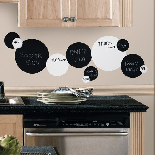 Room Mates Room Mates 31 Piece Deco Chalkboard and Dry Erase Dots Wall Decal in Black / White Set