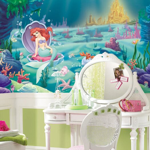 Room Mates Extra Large Murals Littlest Mermaid Chair Rail Wall Decal