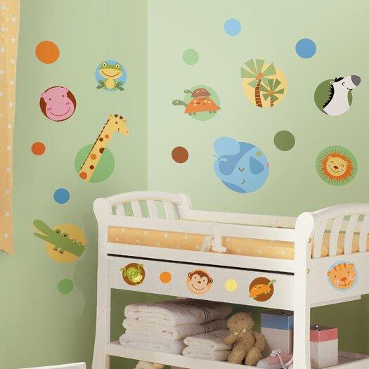 Room Mates Jungle Animal Polka Dot Wall Decal