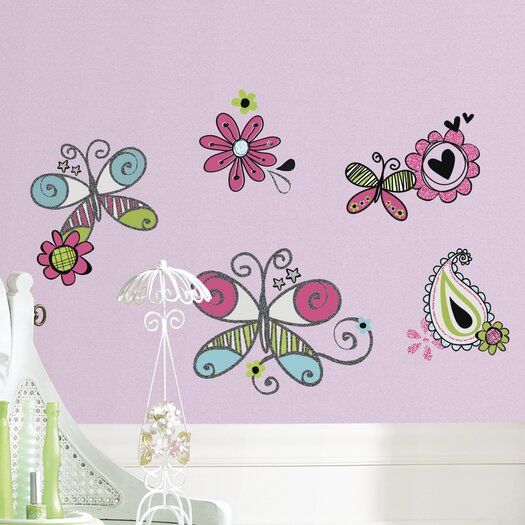 Room Mates Glitter Doodlerific Floral Wall Decal