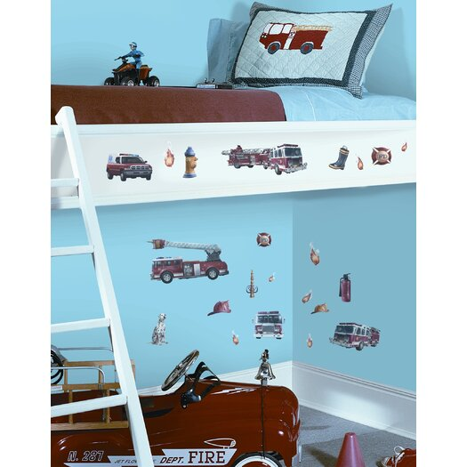 Room Mates Studio Designs 22 Piece Fire Brigade Wall Decal Set