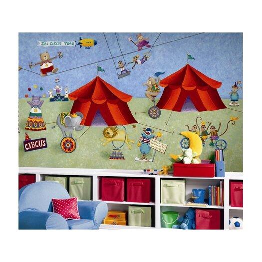 Room Mates Surestrip Big Top Circus Chair Rail Prepasted Wall Mural