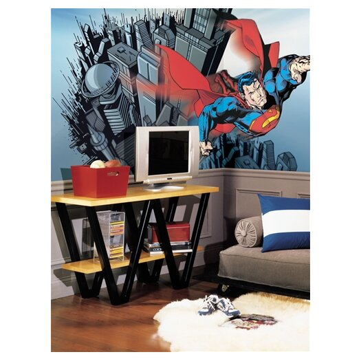 Room Mates Surestrip Superman Chair Rail Prepasted Wall Mural