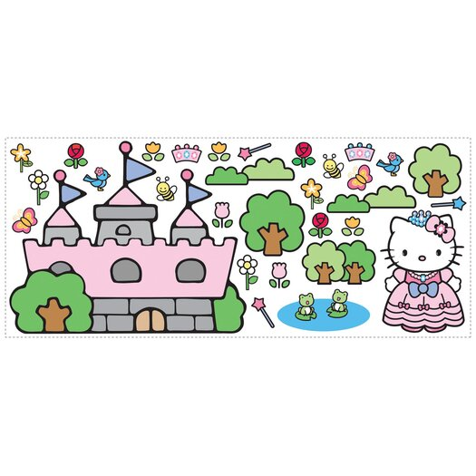Room Mates Favorite Characters 31 Piece Hello Kitty Princess Castle Giant Wall Decal Set