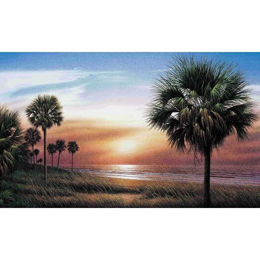 Room Mates Palm Tree Chair Rail Prepasted Wall Mural