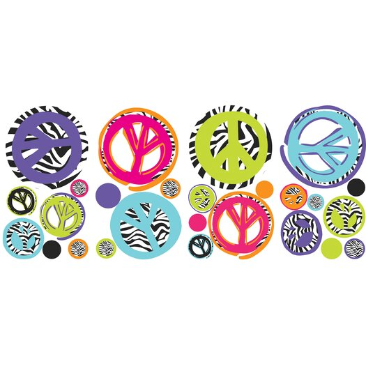 Room Mates Zebra Peace Signs Wall Decal