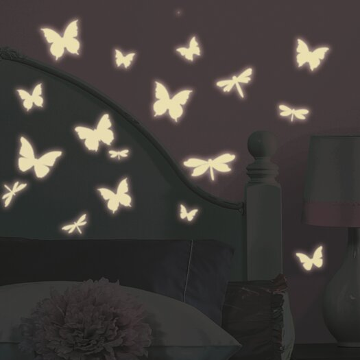 Room Mates Butterfly and Dragonfly Glow in the Dark Wall Decal